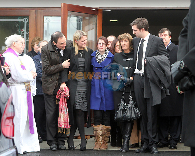 The Family of Shane McEntee leave the church at the Minister of State's Funeral which took place today in Nobber, Co.Meath...Photo NEWSFILE/Jenny Matthews..(Photo credit should read Jenny Matthews/NEWSFILE)