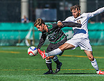 3 October 2015: Binghamton University Bearcat Midfielder Harrison Weilbacher, a Freshman from Lake Ronkonkoma, NY, battles University of Vermont Catamount Forward/Midfielder Stefan Lamanna, a Junior from Pickering, Ontario, during game action at Virtue Field in Burlington, Vermont. The Bearcats held on to defeat the Catamounts 2-1 in America East conference play. Mandatory Credit: Ed Wolfstein Photo *** RAW (NEF) Image File Available ***