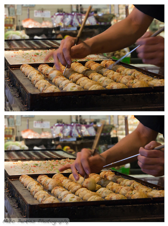 Chef Ryota Akai of Japan turns takoyaki  during a demonstration of takoyaki cooking at Mitsuwa Market in Costa Mesa, California.  This diptych shows just how fast his hands move; less than a second passes between the two exposures.  In the first exposure you can see a takoyaki on the left of the pan moving; in the second exposure you can see it's still moving while he's now spun a second one with his other hand.