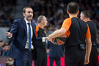 FC Barcelona Lassa coach Sito Alonso talking with the referee during Turkish Airlines Euroleague match between Real Madrid and FC Barcelona Lassa at Wizink Center in Madrid, Spain. December 14, 2017. (ALTERPHOTOS/Borja B.Hojas) /NortePhoto.com NORTEPHOTOMEXICO