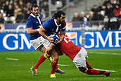 February 1st 2019, St Denis, Paris, France: 6 Nations rugby tournament, France versus Wales;  Yoann Huget (fr) tackled by Liam Williams