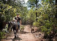 A tourist enjoys a horse back ride in Urique Canyon in Cerocahui, Mexico, Friday, June 20, 2008. While forestry and apple harvesting is traditional to Cerocahui, the tourist industry is growing rapidly...PHOTOS/ MATT NAGER