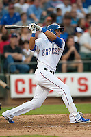 Round Rock Express center fielder Leonys Martin #27 swings during the MLB exhibition baseball game against the Texas Rangers on April 2, 2012 at the Dell Diamond in Round Rock, Texas. The Rangers out-slugged the Express 10-8. (Andrew Woolley / Four Seam Images).