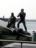 Memorial statue for American merchant sailors.Images of New York 2004, New York,U.S.A