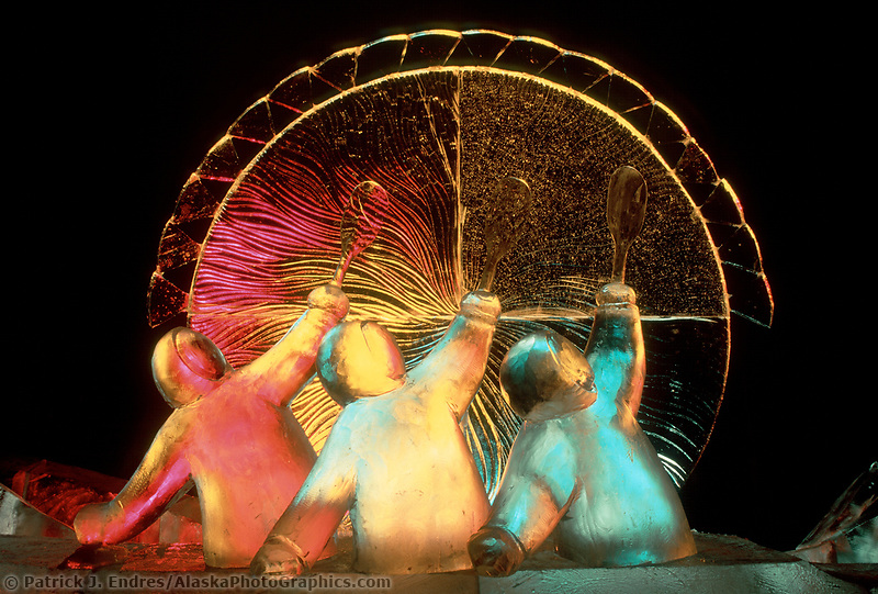Good Omen, the title of this award winning Ice Sculpture lit by colored lights, Fairbanks,