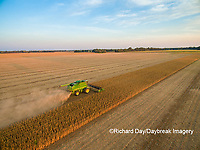 63801-09316 Soybean Harvest, John Deere combine harvesting soybeans - aerial - Marion Co. IL