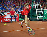 Gent, Belgium, November 29, 2015, Davis Cup Final, Belgium-Great Britain, day three, David Goffin (BEL) is passed by a shot from Andy Murray<br /> Photo: Tennisimages/Henk Koster