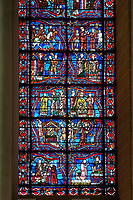 Stained glass Windows of Cathedral of Chartres, France. A UNESCO World Heritage Site.
