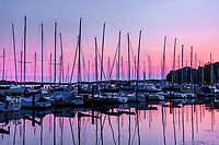 Sunset over Wayzata Yacht Club on Wayzata Bay, Lake Minnetonka.