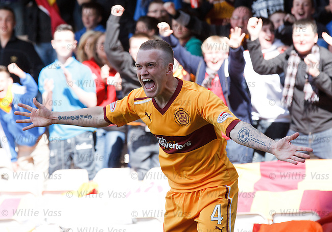 Nicky Law celebrates after scoring Motherwell's second goal