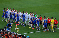Germany and Argentina players shake hands before kick off
