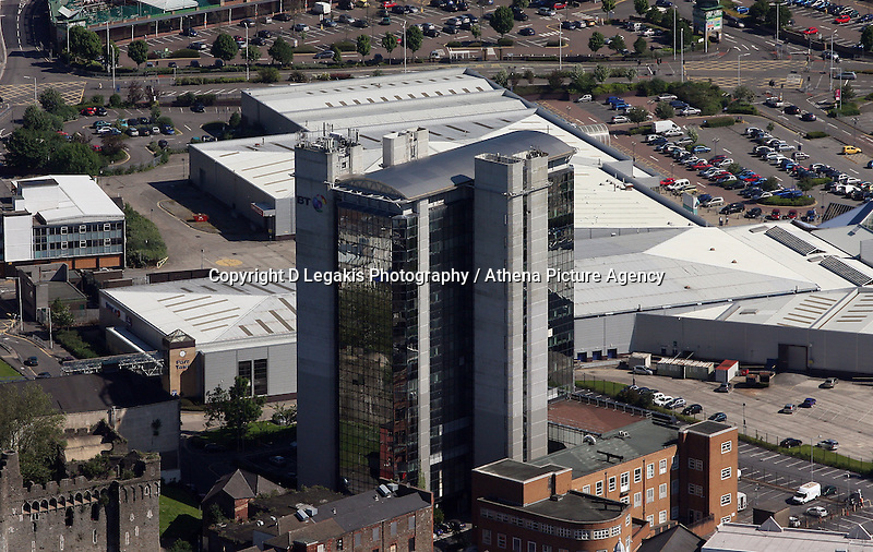 Aerial view of the British Telecoms BT tower in the city centre of Swansea