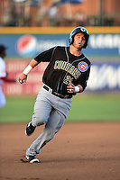 Kane County Cougars catcher Ben Carhart (21) runs the bases during a game against the Peoria Chiefs on June 2, 2014 at Dozer Park in Peoria, Illinois.  Peoria defeated Kane County 5-3.  (Mike Janes/Four Seam Images)