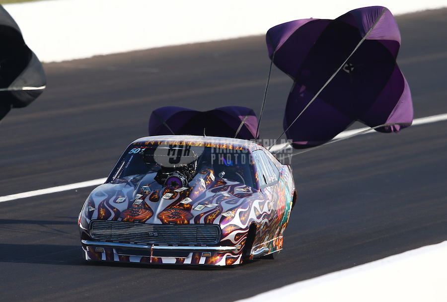 Aug. 30, 2013; Clermont, IN, USA: NHRA pro mod driver Mike Knowles during qualifying for the US Nationals at Lucas Oil Raceway. Mandatory Credit: Mark J. Rebilas-