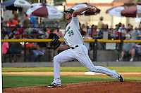 Blake Holovach #39 of the Clinton LumberKings throws against the South Bend  Silver Hawks at Ashford University Field on July 26, 2014 in Clinton, Iowa. The Sliver Hawks won 2-0.   (Dennis Hubbard/Four Seam Images)