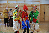 """Members of the Roma or gypsy theater Romathan perform for young children in """"Dwarf"""" at the Banske Elementary School with a Roma or gypsy majority student body in Banske, Slovakia on June 2, 2010."""