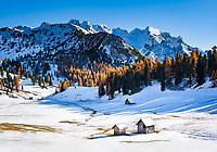 Italien, Suedtirol (Trentino - Alto Adige), Naturpark Fanes-Sennes-Prags:  Hochplateau Plaetzwiesen mit Hohe Gaisl | Italy, South Tyrol (Trentino - Alto Adige), Fanes-Sennes-Prags Nature Park: High Plateau Plaetzwiesen with Croda Rossa mountais