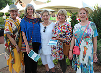 NWA Democrat-Gazette/CARIN SCHOPPMEYER Darra Dismuke (from left), Hayley Tomlinson, Rosemary Conrad, Linda Lonsdale and Janice Stanesic help support the Botanical of the Ozarks at Art in the Garden on June 21 at the garden in Fayetteville.
