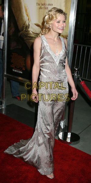 "EMILIE DE RAVIN.Los Angeles Premiere of ""The Hills Have Eyes"", Hollywood, California , USA.March 9th, 2006.Photo: Byron Purvis/AdMedia/Capital Pictures.Ref: BP/ADM.full length silver grey gray dress pattern.www.capitalpictures.com.sales@capitalpictures.com.© Capital Pictures."