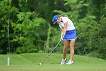 HOUSTON, TX - MAY 19: Olivia Reed of Grand Valley State tees off during the Division II Women's Golf Championship held at Bay Oaks Country Club on May 19, 2018 in Houston, Texas. (Photo by Justin Tafoya/NCAA Photos via Getty Images)