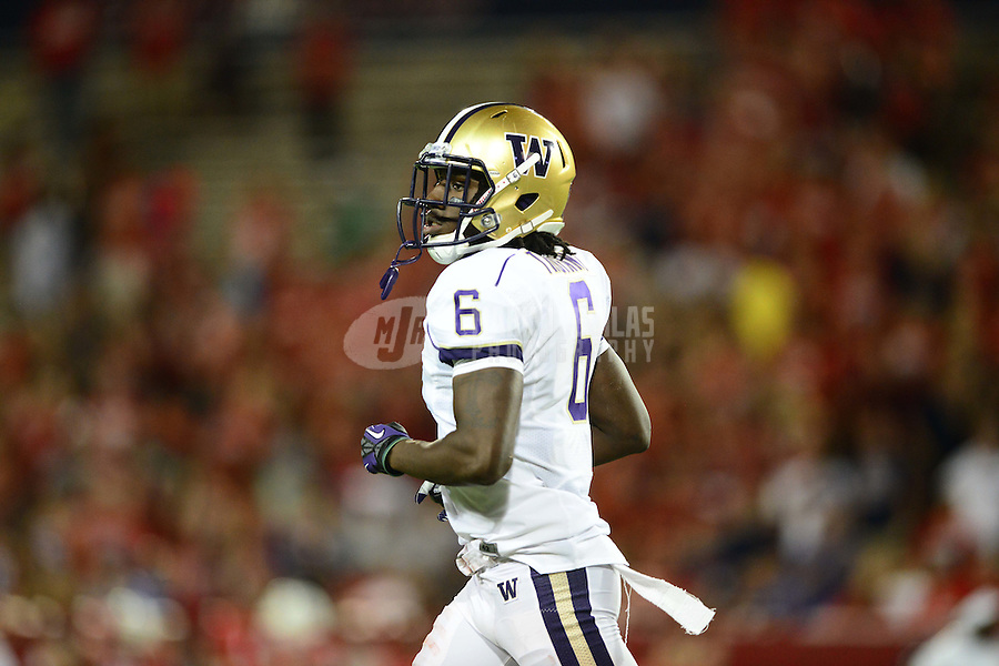 Oct. 20, 2012; Tempe, AZ, USA; Washington Huskies cornerback Desmond Trufant (6) against the Arizona Wildcats at Arizona Stadium. Mandatory Credit: Mark J. Rebilas-USA TODAY Sports