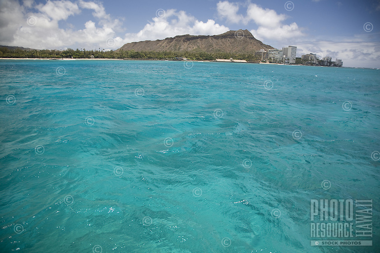 Turquoise water off of Diamond Head and Waikiki Beach