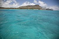 Turquoise water off of Diamond Head and Waikiki Beach