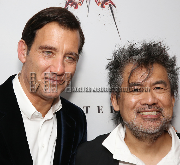 Clive Owen and David Henry Hwang attends the Broadway Opening Night After Party for 'M. Butterfly' on October 26, 2017 at Red Eye Grill in New York City.