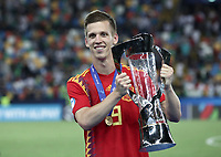 Football: Uefa under 21 Championship 2019 Final, Spain - Germany Dacia Arena, Udine Italy on June 30, 2019.<br /> Spanish Dani Olmo holds the trophy after winning the Uefa under 21 Championship 2019 at the Dacia Arena in Udine, Italy on June 30, 2019.<br /> UPDATE IMAGES PRESS/Isabella Bonotto