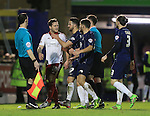 Southend's players hold back Sheffield United's Billy Sharp during the League One match at Roots Hall Stadium.  Photo credit should read: David Klein/Sportimage