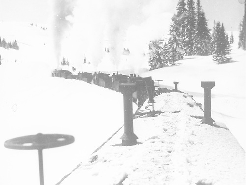 Rotary working snow near Cumbres Pass with four engines pushing.<br /> D&amp;RGW  Cumbres Pass ?, CO