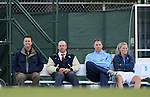 11 October 2007: UNC coach staff. From left: head coach Anson Dorrance, assistant coach Bill Palladino, goalkeeper coach Chris Ducar, alumnae Elizabeth (Libby) Guess. The University of North Carolina Tar Heels defeated the Duke University Blue Devils 2-1 at Fetzer Field in Chapel Hill, North Carolina in an Atlantic Coast Conference NCAA Division I Women's Soccer game.