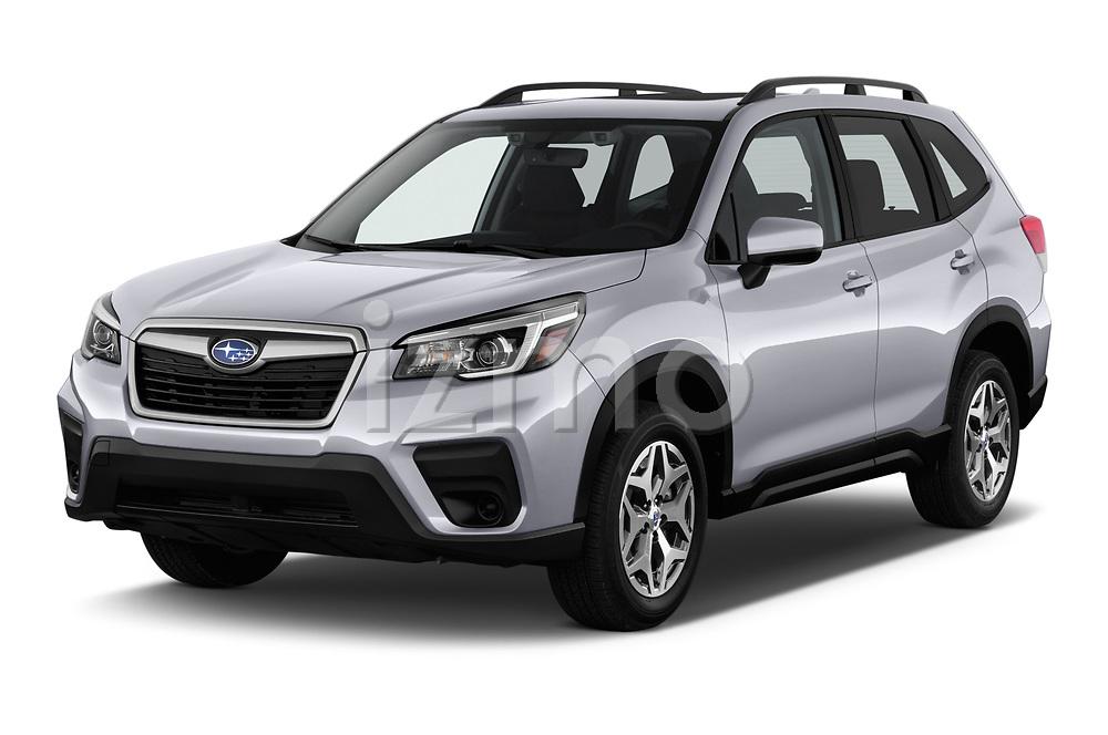 2019 Subaru Forester Premium 5 Door Wagon angular front stock photos of front three quarter view