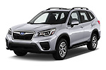 2020 Subaru Forester Premium 5 Door Wagon angular front stock photos of front three quarter view