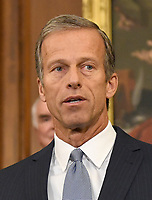 United States Senator John Thune (Republican of South Dakota), Chairman of the US Senate Commerce, Science, and Transportation Committee, makes remarks as US Senate and House Republicans announce their new tax plan endorsed by US President Donald J. Trump in the US Capitol in Washington, DC on Wednesday, September 27, 2017. Photo Credit: Ron Sachs/CNP/AdMedia
