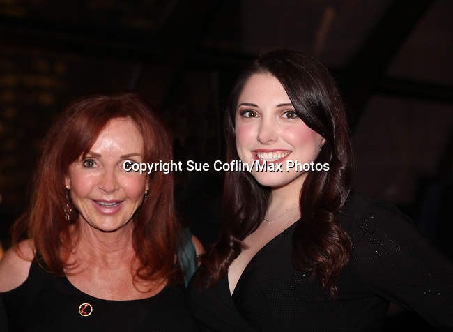 """General Hospital Jacklyn Zeman """"Bobbie Spencer"""" poses with Samantha Sharpe who sang """"Let It Go"""". Jackie is honorary chair of The 29th Annual Jane Elissa Extravaganza which benefits The Jane Elissa Charitable Fund for Leukemia & Lymphoma Cancer, Broadway Cares and other charities on November 14, 2016 at the New York Marriott Hotel, New York City presented by Bridgehampton National Bank and Walgreens.  (Photo by Sue Coflin/Max Photos)"""