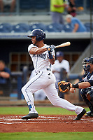 Charlotte Stone Crabs center fielder Angel Moreno (1) follows through on a swing during the first game of a doubleheader against the Tampa Yankees on July 18, 2017 at Charlotte Sports Park in Port Charlotte, Florida.  Charlotte defeated Tampa 7-0 in a game that was originally started on June 29th but called to inclement weather.  (Mike Janes/Four Seam Images)