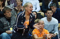 Arena Loire,  Trélazé,  France, 16 April, 2016, Semifinal FedCup, France-Netherlands, Kiki Bertens (NED) supports her team member Aranta Rus<br /> Photo: Henk Koster/Tennisimages