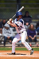 FDU-Florham Devils Garrett Ruoff (20) at bat during the first game of a doubleheader against the Farmingdale State Rams on March 15, 2017 at Lake Myrtle Park in Auburndale, Florida.  Farmingdale defeated FDU-Florham 6-3.  (Mike Janes/Four Seam Images)