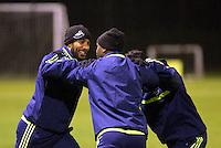 Team captain Ashley Williams (L) of Swansea training