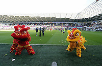 Wednesday, 19 January 2014<br /> Pictured: Lions for the celebration of the Chinese New Year before kick off.<br /> Re: Barclay's Premier League, Swansea City FC v Tottenham Hotspur at the Liberty Stadium, south Wales.