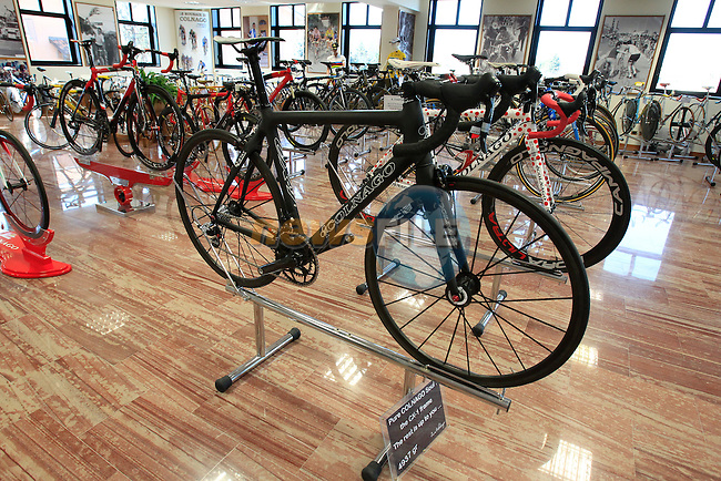 Colnago's lightest ever bike at 4.9kg on display in the Colnago Museum and factory in Cambiago on the outskirts of Milan, Italy,15th March 2013. (Photo Eoin Clarke/www.newsfile.ie)