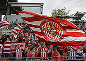 June 4th 2017, Estadi Montilivi,  Girona, Catalonia, Spain; Spanish Segunda División Football, Girona versus Zaragoza; Big flag of the Girona supporters