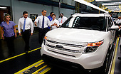 United States President Barack Obama tours the Chicago Ford Motor Company Plant looking at the new Ford Explorer, Thursday, August 5, 2010.  .Credit: Jeff Haynes - Pool via CNP