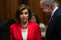 Speaker of the United States House of Representatives Nancy Pelosi (Democrat of California) and United States Senate Minority Leader Chuck Schumer (Democrat of New York), joined by other Democratic lawmakers, attend a press conference on the Deferred Action for Childhood Arrivals program on Capitol Hill in Washington D.C., U.S. on Tuesday, November 12, 2019.  The Supreme Court is currently hearing a case that will determine the legality and future of the DACA program.  <br /> <br /> Credit: Stefani Reynolds / CNP /MediaPunch