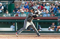 Salt River Rafters designated hitter Daulton Varsho (8), of the Arizona Diamondbacks organization, at bat during the Arizona Fall League Championship Game against the Peoria Javelinas at Scottsdale Stadium on November 17, 2018 in Scottsdale, Arizona. Peoria defeated Salt River 3-2 in 10 innings. (Zachary Lucy/Four Seam Images)