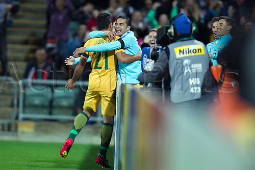 01.09.2016. nib Stadium, Perth, Australia. World Cup Football Qualifier. Australia versus Iraq. Massimo Luongo celebrates with Tim Cahill after scoring in the 57th minute for 1-0