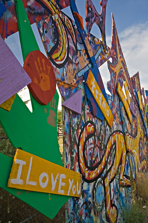 Artistic sculpture along the Turquoise Trail Scenic Byway in New Mexico