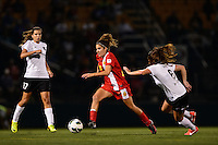 Western New York Flash midfielder Angela Salem (6) is marked by Portland Thorns midfielder Meleana Shim (6). The Portland Thorns defeated the Western New York Flash 2-0 during the National Women's Soccer League (NWSL) finals at Sahlen's Stadium in Rochester, NY, on August 31, 2013.