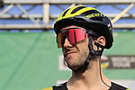 Adam Yates (GBR) and Mitchelton-Scott at sign on before the start of the 112th edition of Il Lombardia 2018, the final monument of the season running 241km from Bergamo to Como, Lombardy, Italy. 13th October 2018.<br /> Picture: Eoin Clarke | Cyclefile<br /> <br /> <br /> All photos usage must carry mandatory copyright credit (© Cyclefile | Eoin Clarke)